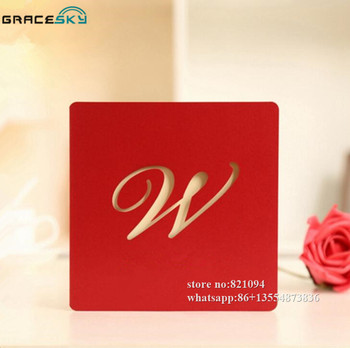 10pcs laser cut simple style W script wedding invitation cards with inner blank paper for wedding party supplies